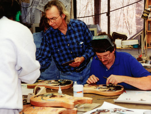 Larry Sifel and crew working on the first PRS Dragon guitars