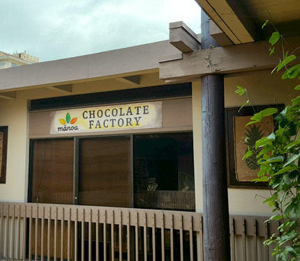 Mānoa Chocolate Factory sign and store