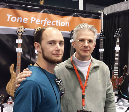 Rob Elrick of Erlick bass guitars with Daniel Panza of Pearl Works