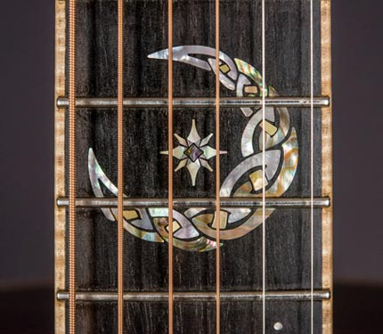 The Sifel Night Sky guitar, moon inlay detail