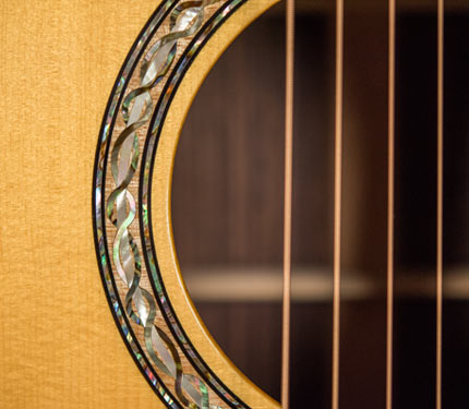 The Sifel Night Sky guitar, rosette inlay detail